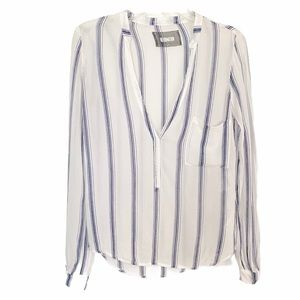 Reformation Sheer White and Blue Striped Long Sleeves Top